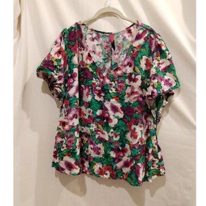 Pure Energy Flutter Sleeves Floral Top 3X